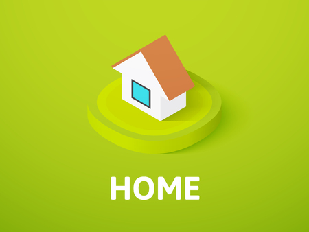 Home icon, vector symbol in flat isometric style isolated on color background