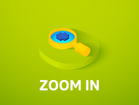 Zoom in icon, vector symbol in flat isometric style isolated on color background
