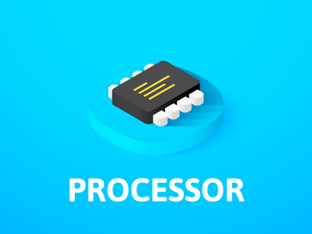 Processor isometric icon, isolated on color background Illustration