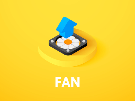Fan isometric icon, isolated on color background Illustration
