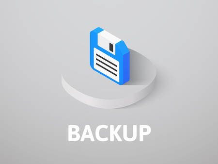 Backup icon, vector symbol in flat isometric style isolated on color background Stock Illustratie