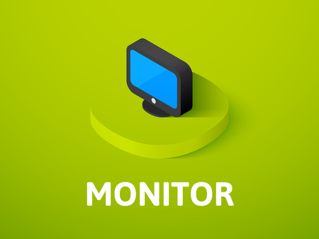 Monitor isometric icon, isolated on colored background