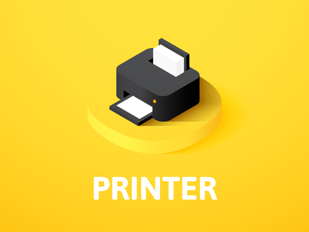 Printer isometric icon, isolated on colored background Vectores