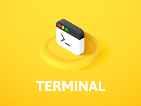 Terminal isometric icon, isolated on color background Illustration
