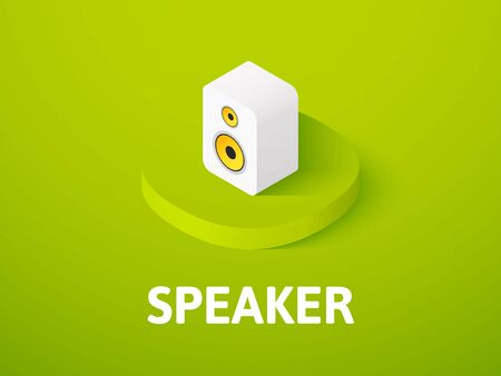 Speaker isometric icon, isolated on color background