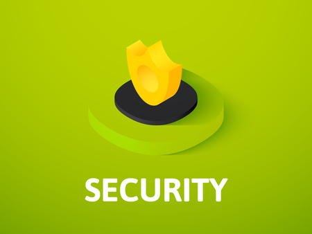 Security isometric icon, isolated on color background