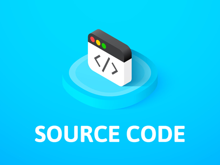 Source code icon, vector symbol in flat isometric style isolated on color background Vectores