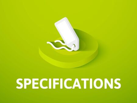 Specifications isometric icon, isolated on color background. Illustration