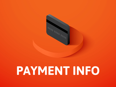 Payment info isometric icon, isolated on color background.