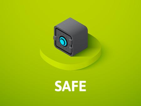 Safe isometric icon, isolated on color background. Illusztráció