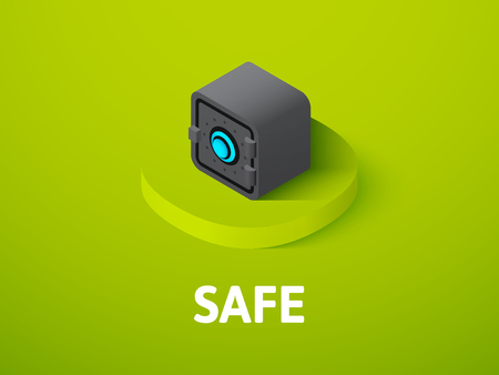 Safe isometric icon, isolated on color background. Stock Illustratie