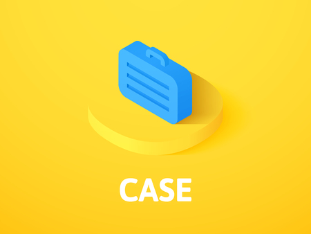Case isometric icon, isolated on yellow background.