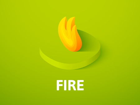 Fire isometric icon, isolated on color background