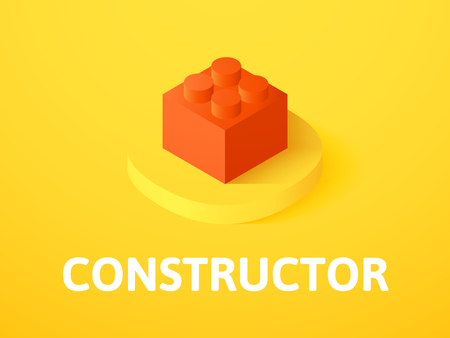 Constructor isometric icon,  isolated on a colorful background. Vectores