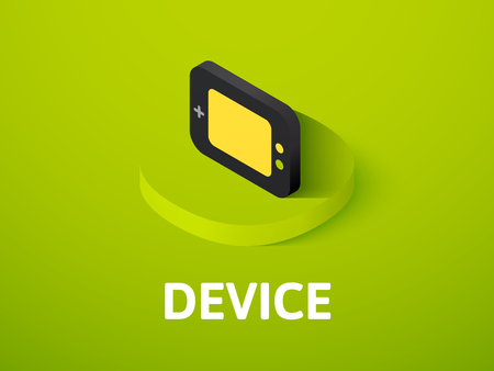 Device isometric icon, isolated on a colorful background.
