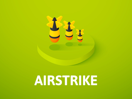 Airstrike isometric icon,  isolated on a colorful background.