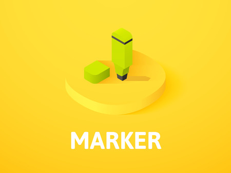 Marker icon, vector symbol in flat isometric style isolated on color background