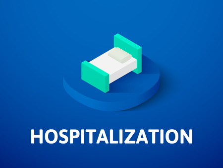 Hospitalization isometric icon, isolated on colored background