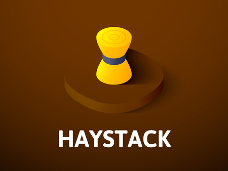 Haystack isometric icon, isolated on colored  background