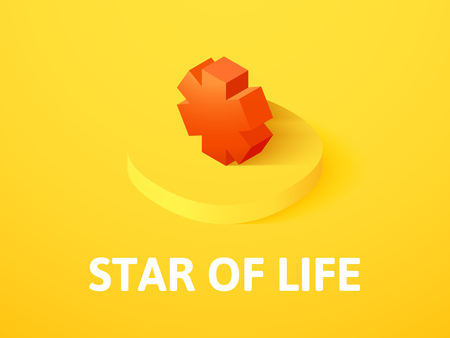 Star of life isometric icon, isolated on colored background