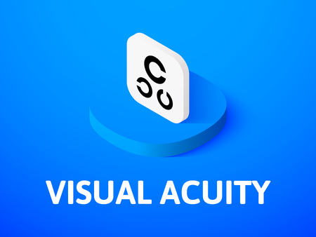 Visual acuity isometric icon, isolated on colored background