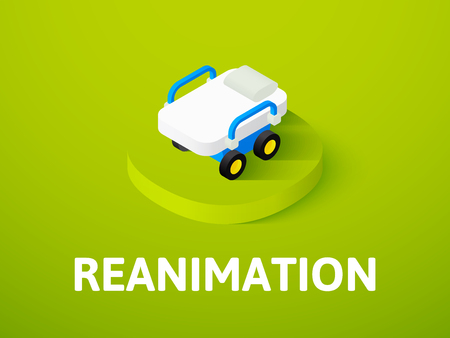 Reanimation isometric icon, isolated on colored background