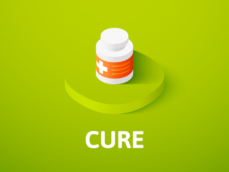 Cure isometric icon, isolated on colored background