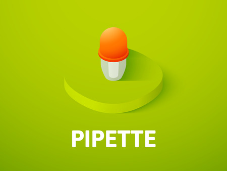 Pipette isometric icon, isolated on colored background Illustration