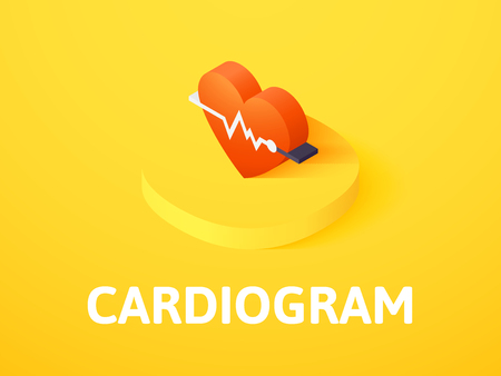 Cardiogram isometric icon, isolated on colored background
