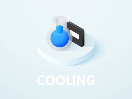 Cooling isometric icon, isolated on colored background