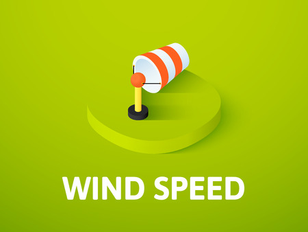Wind speed isometric icon, isolated on colored background
