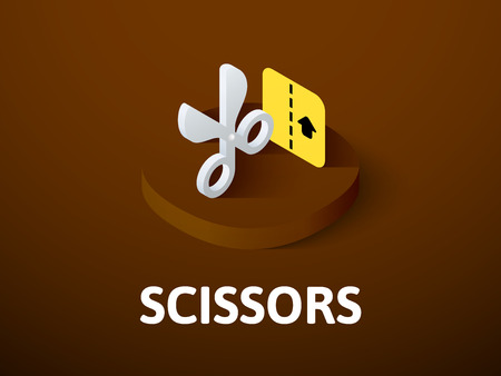 Scissors isometric icon, isolated on color background
