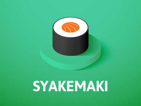 Syakemaki isometric icon, isolated on color background