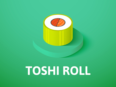Toshi roll isometric icon, isolated on color background