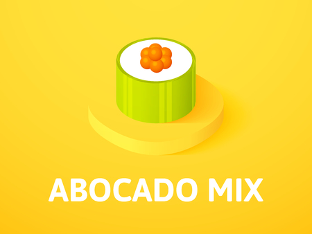 Abocado mix isometric icon, isolated on color background