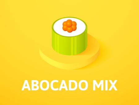 Abocado mix isometric icon, isolated on color background