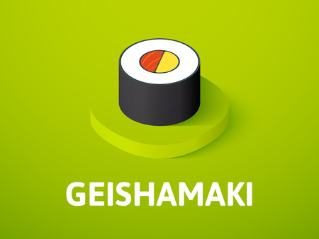 Geishamaki isometric icon, isolated on color background