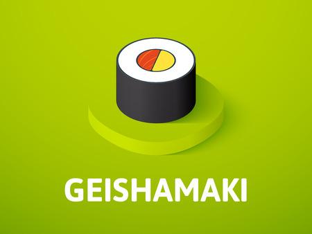 Geishamaki isometric icon, isolated on color background