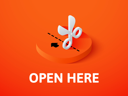 Open here isometric icon, isolated on color background