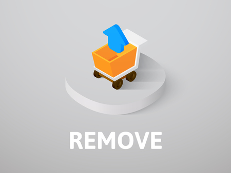 Remove isometric icon, isolated on color background