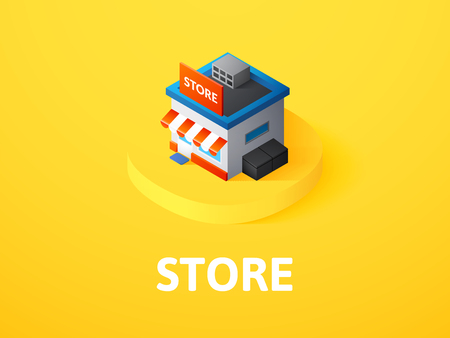 Store isometric icon, isolated on color background