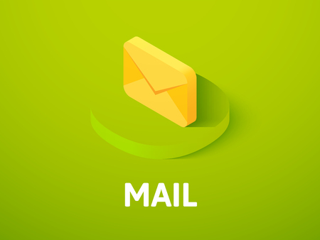 Mail isometric icon, isolated on color background Illustration