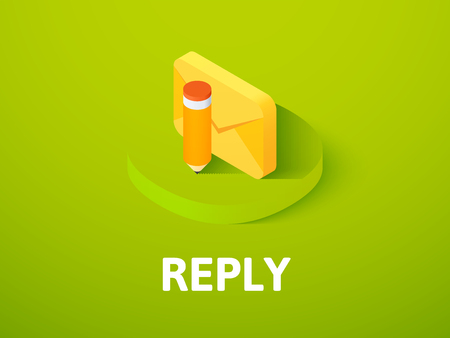 Reply isometric icon, isolated on color background Illusztráció