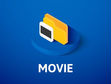 Movie isometric icon, isolated on color background Illustration