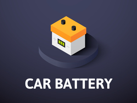 Car battery isometric icon isolated on color background