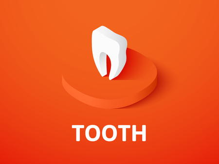 Tooth isometric icon isolated on color background