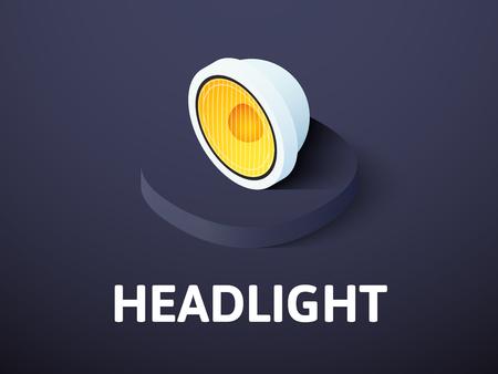 Headlight isometric icon isolated on color background Illustration