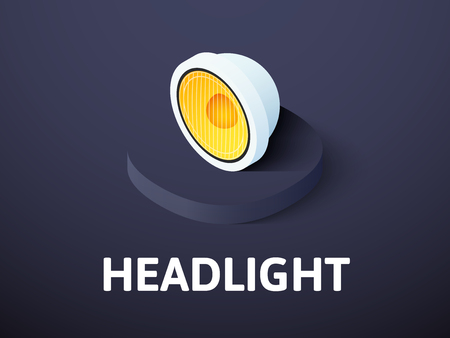 Headlight isometric icon isolated on color background Illustration