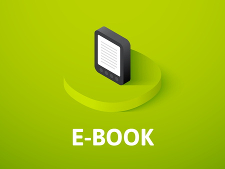 E-Book isometric icon, isolated on color background.