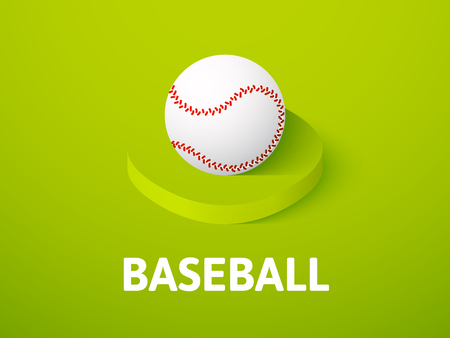 Baseball icon, vector symbol in flat isometric style isolated on color background
